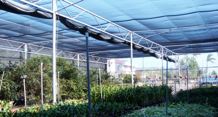 Decrease of heat build-up, wind speed and UV damage to greenhouse planting