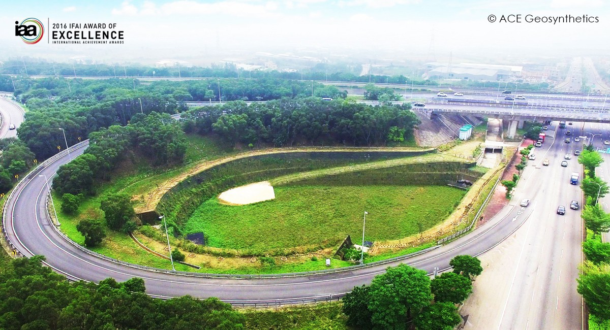 Geosynthetic Detention Basin at Shalu Interchange, Taiwan
