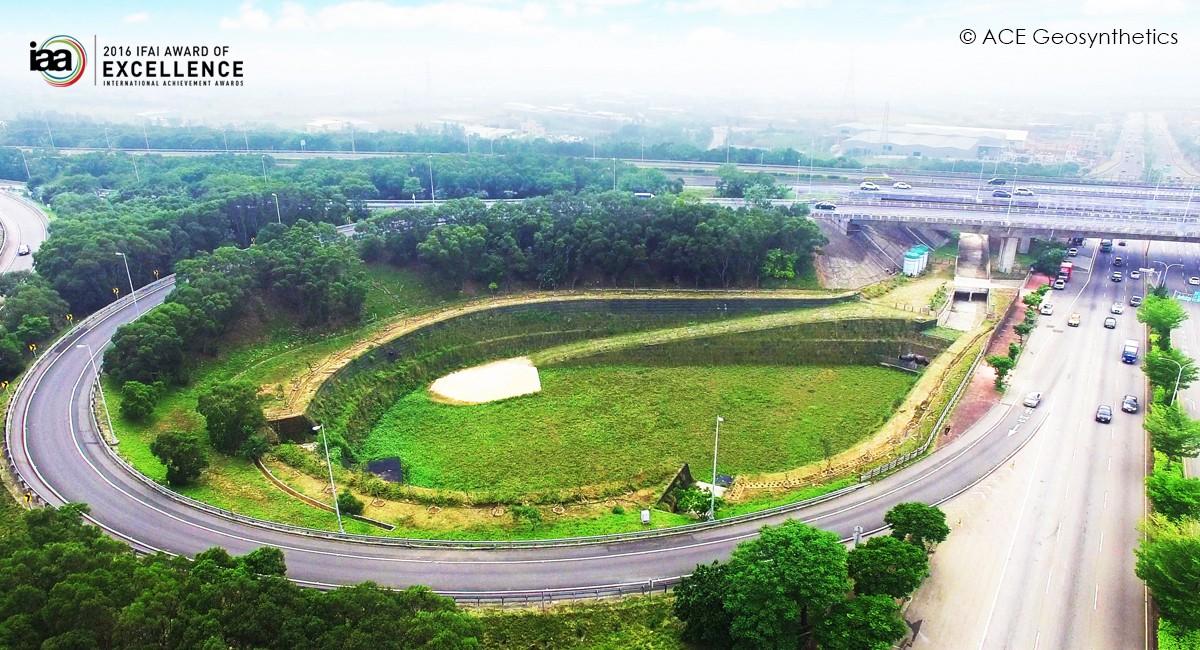 Bassin de détention géosynthétique à l'échangeur de Shalu, Taiwan